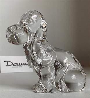 Vintage Signed DAUM France Crystal DOG Figure