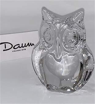Vintage Signed DAUM France Crystal OWL Figure