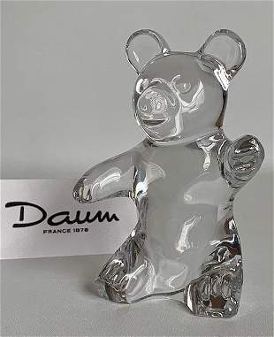 Vintage Signed DAUM France Crystal TEDDY BEAR Figure
