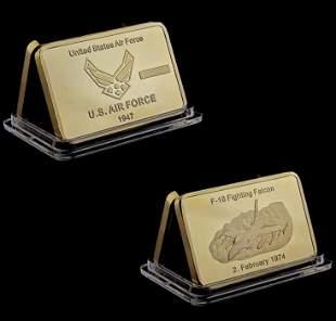 Vietnam War Airforce F-16 Fighting Falcon Gold Clad Bar