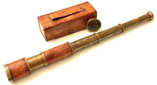 Awesome Leather Wrapped Marine Telescope w/Case