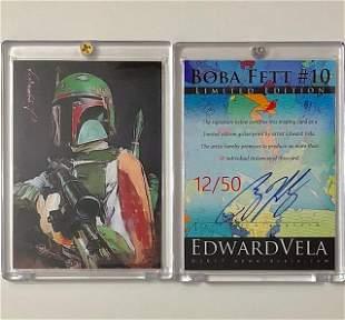1 of 50 Artist Signed Star Wars BOBA FETT Art Card