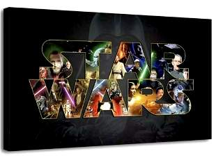 Awesome STAR WARS Cast Collage Canvas Art Print