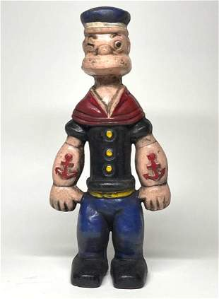 Vintage Cast Iron Large Popeye Still Coin Bank