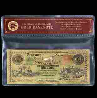 1864 US Treasury Civil War 24k Gold Clad $100 Banknote