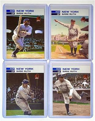 Set of 4 BABE RUTH Limited Edition GOAT Baseball Cards