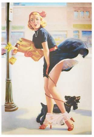 13 x 19 Risque Vintage Pin Up Girl Card Stock Poster