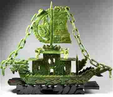 Vintage Hand Carved Natural JADE Chinese Dragon Boat