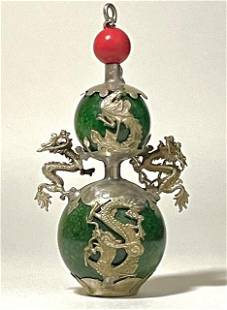 Chinese Folk Art Jade Tibet Silver Dragon Snuff Bottle