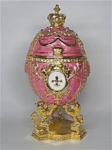 FABERGE Enameled Egg Trinket Box w/Lions Display Stand