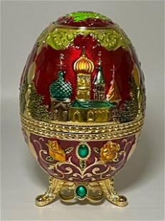 Rare Faberge Inspired Russian Enameled & Jeweled Egg