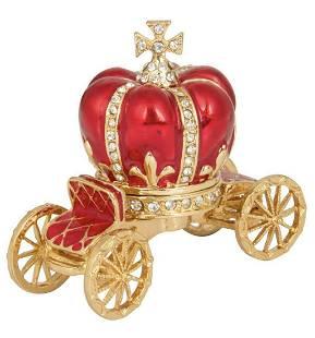 FABERGE Enameled Royal Coronation Crown Trinket Box