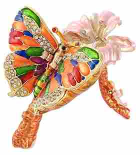 Stunning Russian Studded & Enameled Butterfly Triket Bx