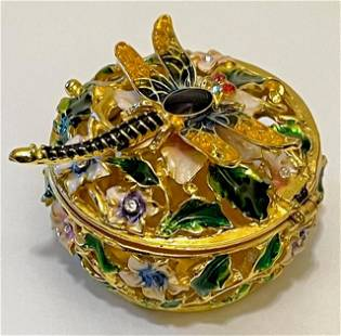 Beautiful Russian Studded & Enameled Dragnfly Triket Bx
