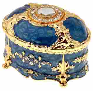 Stunning Fully Enameled Gemstone Inlay Jewelry Box