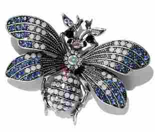 Morkopela Rhinestone Bee Brooch in the Style of FABERGE