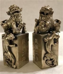 Solid Tibetan Silver KYLIN Temple Guardian FOO DOGS