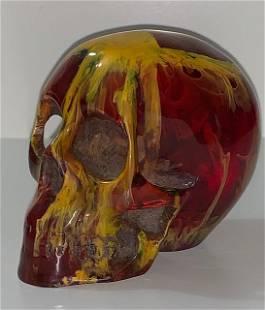 Ornately Carved Solid Multi-Colored Amber SKULL