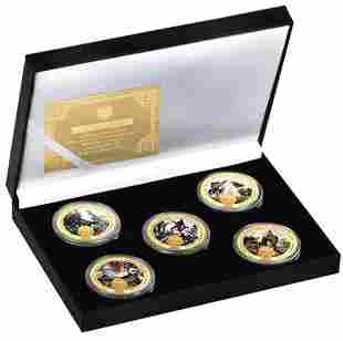 Civil War Tribute Colorized Gold Clad Coin Set with COA