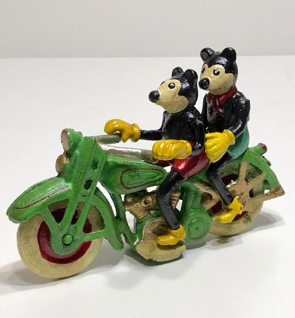 Disney Cast Iron Toy Mickey/Minnie Mouse on Motorcycle