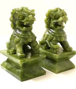 Vintg Hnd Carved Natural JADE Chinese Imperial Foo Dogs