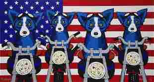 RODRIGUE Blue Dog Art Print on Canvas 16 x 30