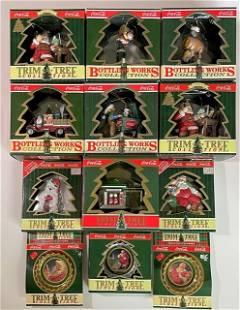 Lot of 12 Vintage COCA-COLA Christmas Ornaments