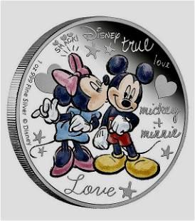 Walt Disney MICKEY & MINNIE 1oz Clad Silver Coin