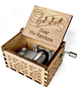 WIZARD of OZ Working Hand Engraved Wood Crank Music Box