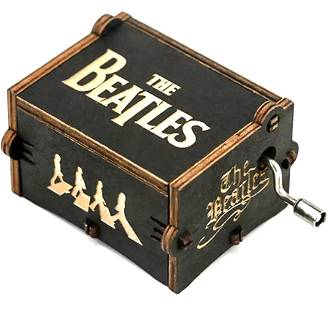 The BEATLES Working Hand Engraved Wood Crank Music Box