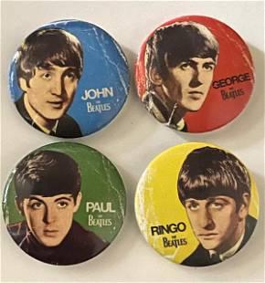 Lot of 4 The BEATLES Fan Club Pins