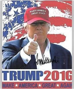 DONALD TRUMP 2016 Autographed Campaign Photo 8 x 10