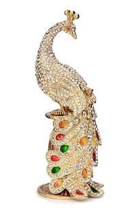 Stunning FABERGE Jeweled Enameled Peacock Trinket Box