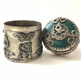 Chinese Handmade JADE Inlay/Silver Tobacco Snuff Box