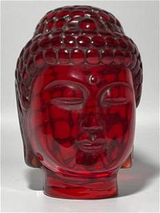 Vintage Molded Chinese Red Amber Deities Buddha Bust