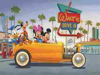Walt Disney Drive In Mickey & Friends Canvas Art Print