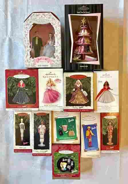 12 Vintage BARBIE Christmas Ornaments & Collectibles/A