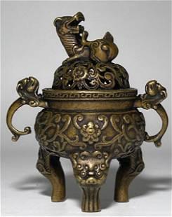 Vintage Chinese Bronze Foo Dog Top Mini Censer