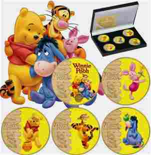 Disney Winnie the Pooh & Friends Clad Gold Coins w/COA