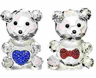 Swarovski style Austrian Crystal His & Hers Teddy Bears