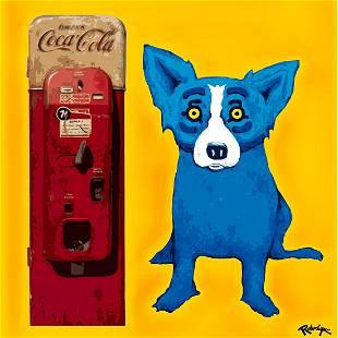 Rodrigue Blue Dog COCA-COLA Print Art on Canvas