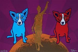 RODRIGUE Blue Dog Art Print on Canvas 16 x 24