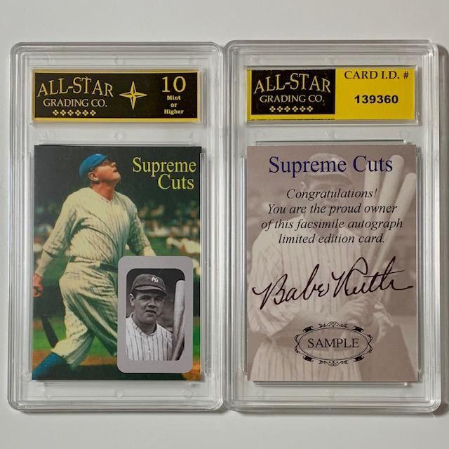 BABE RUTH Cut Signature Sample Baseball Card