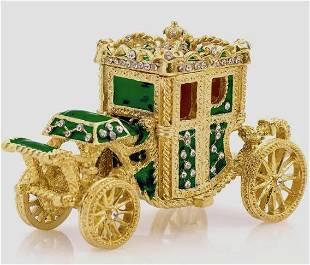 Gorgeous FABERGE Enamel Cinderella Carriage Trinket Box