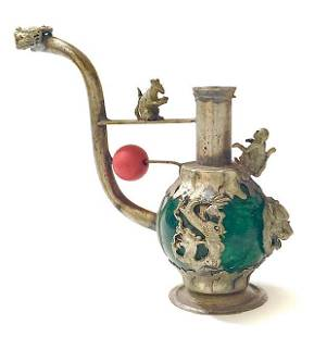 Chinese Folk-Art Handmade Tibet Jade/Silver Opium Pipe
