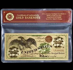 1863 Civil War 24k Gold Clad $100 U.S. Eagle Banknote