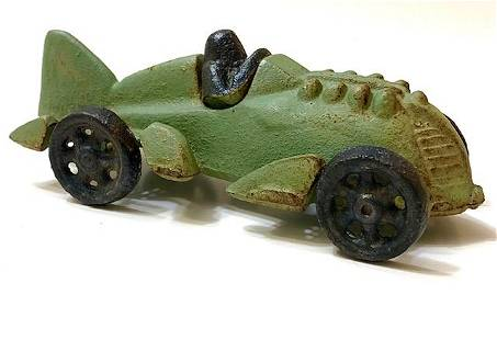 Signed HUBLEY Cast Iron Toy Race Car w/Great Patina