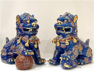 Early Japanese Satsuma Gilt Porcelain Kutani Foo Dogs