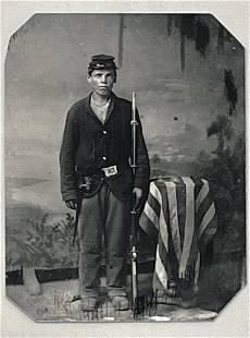 Civil War Tin Type Photo of Soldier Uniform w/Weapons