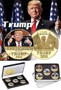 Rare 2024 DONALD TRUMP Will Be Back Gold Clad Coin Set